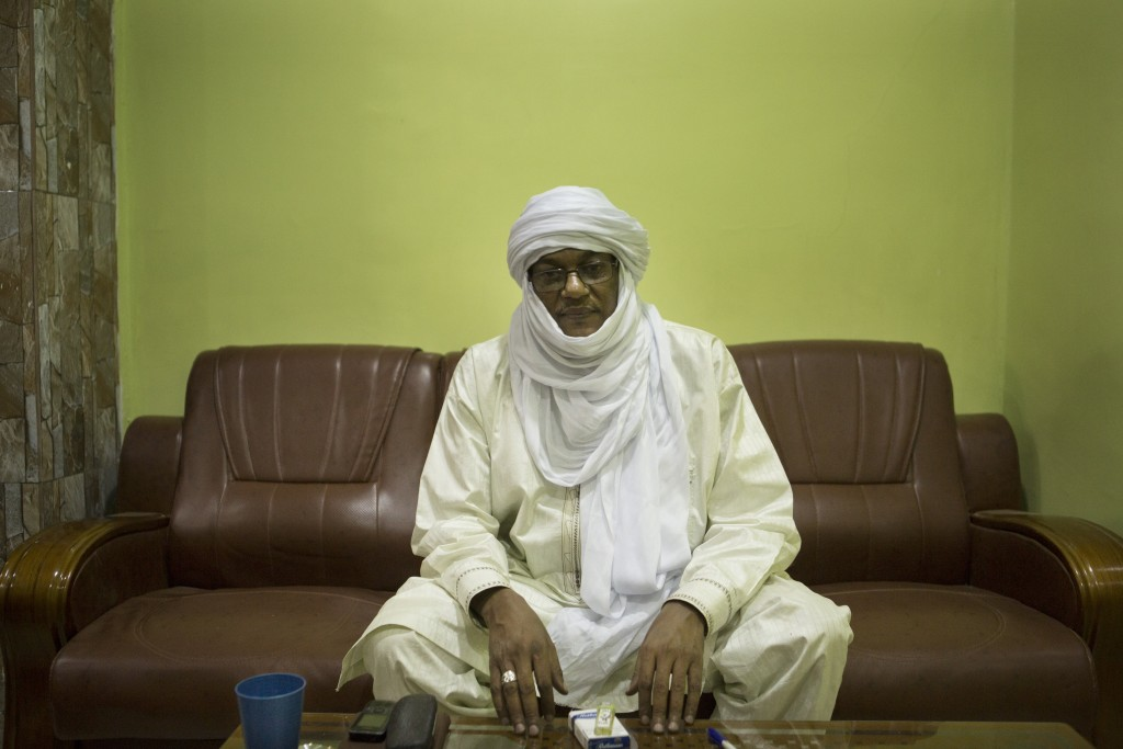 President of the Regional Council of Agadez Mohamed Anacko poses for a picture in his office in Niamey, Niger, January 10, 2018.