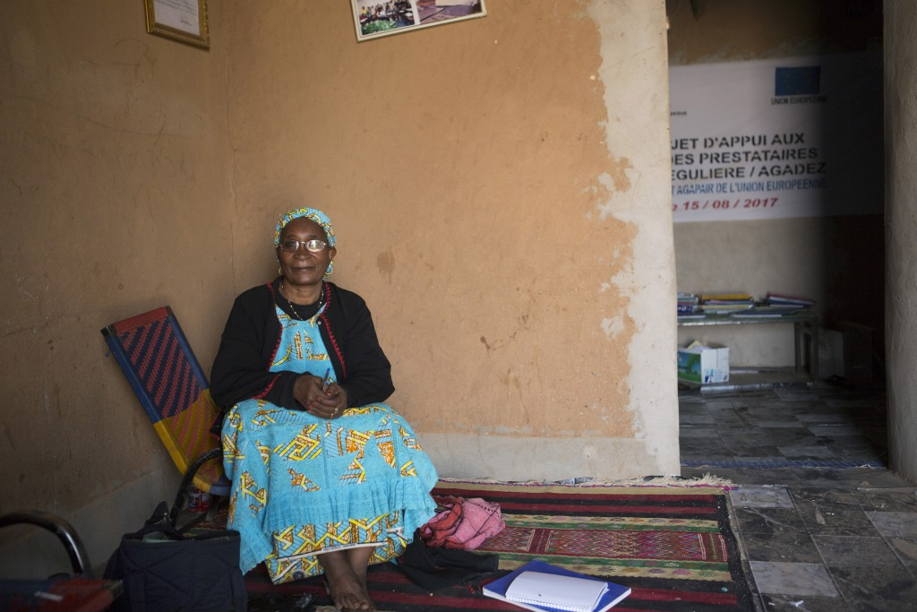 Zara Ibrahim, the head of the Association of Women Against War, poses for a picture in her office in Agadez, Niger, January 15, 2018.