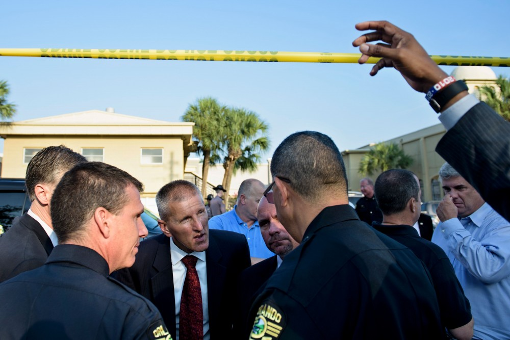 Ronald Hopper (3L), FBI Tampa division Assistant Agent in Charge, talks to Orlando Police Chief John Mina (2L), Orlando Police Chief, Paul Wysopal (4L), FBI Tampa Division Special Agent in Charge, and others near the Pulse nightclub June 13, 2016 in Orlando, Florida.&lt;br /&gt;&lt;br /&gt;&lt;br /&gt;&lt;br /&gt;&lt;br /&gt;&lt;br /&gt;&lt;br /&gt;&lt;br /&gt;&lt;br /&gt;&lt;br /&gt;&lt;br /&gt;&lt;br /&gt;&lt;br /&gt;<br /></a></div> <header class=