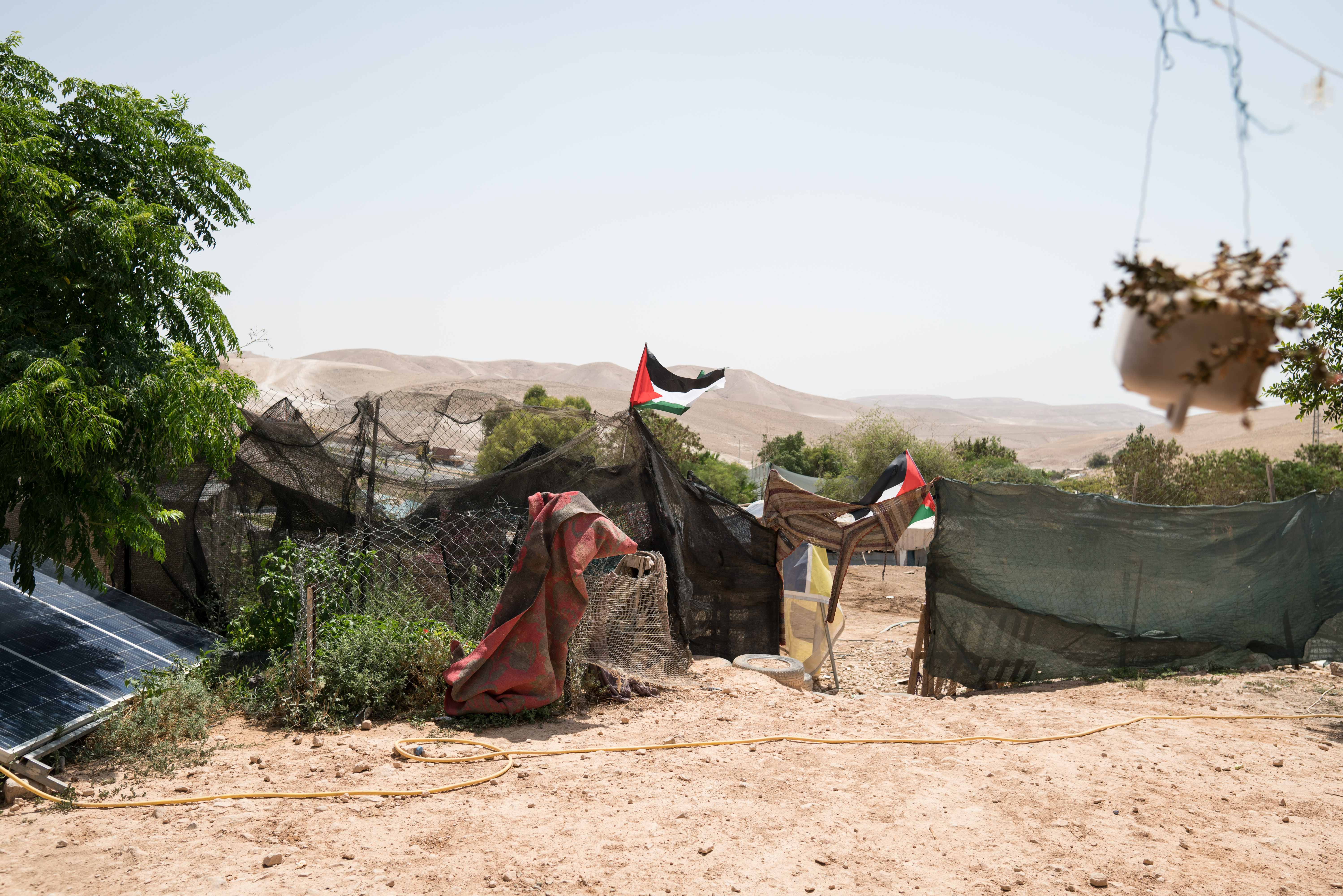 A picture shows a the outside of a Palestinian Bedouin house at the Khan Al-Ahmar village on July 26, 2018