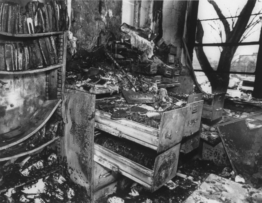 Bombed-out remains of a mink research lab at MI State Univ.; the militant ALF, the Animal Liberation Front, which opposes human exploitation of animals, was responsible for the bombing. (Photo by Chris Holmes/The LIFE Images Collection/Getty Images)