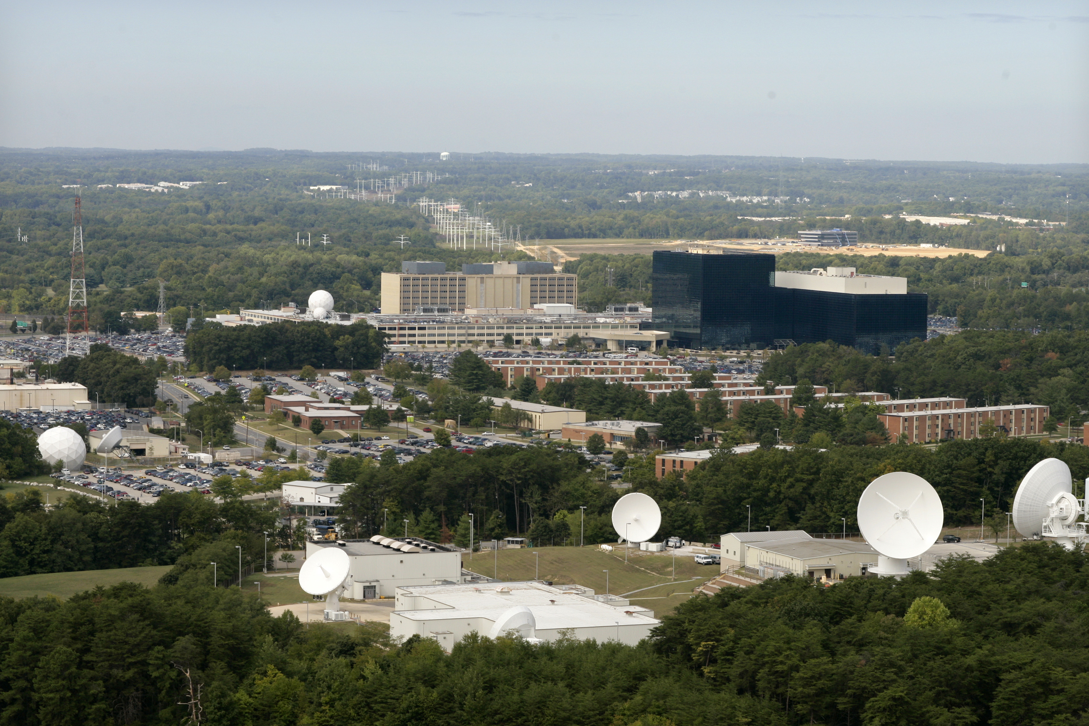 An aerial view of The National Security Agency and Central Security Service (NSA CSS) building in Fort Meade, Maryland. (Photo by Brooks Kraft LLC/Corbis via Getty Images)