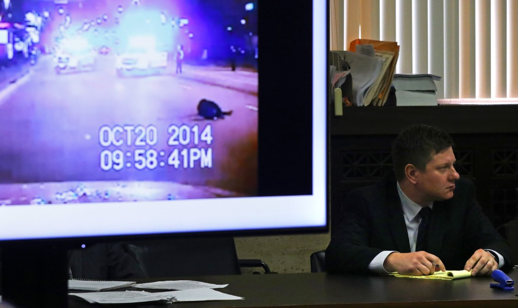 CHICAGO, IL - OCTOBER 03: A police vehicle dash cam video of the moments after Laquan McDonald was fatally shot is displayed for jurors as Chicago police Officer Jason Van Dyke attends his trial for the shooting death of McDonald, at the Leighton Criminal Court Building on October 3, 2018, in Chicago, Illinois. Van Dyke is charged with shooting and killing black 17-year-old Laquan McDonald, who was walking away from police down a street holding a knife four years ago.  (Photo by John J. Kim-Pool/Getty Images)