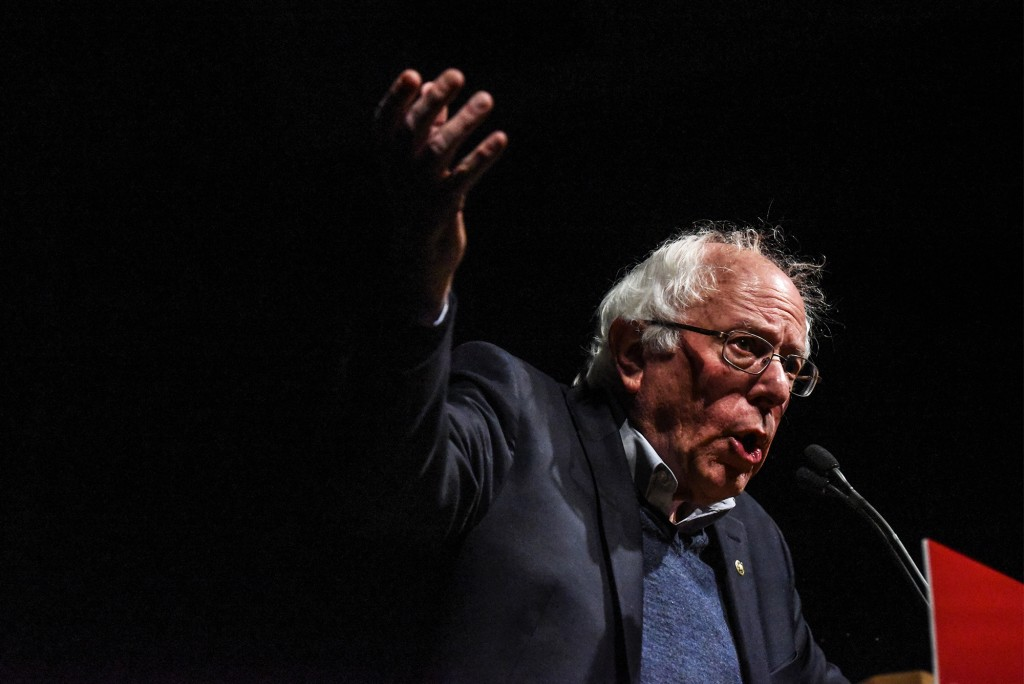 "BURLINGTON, VT - NOVEMBER 04: U.S. Sen. Bernie Sanders (I-VT) gives a speech at a ""Get Out The Vote"" campaign event with Democratic Gubernatorial candidate Christine Hallquist on November 4, 2018 in Burlington, Vermont. Hallquist made history in August after winning the Democratic nomination, becoming the first openly transgender person nominated by a major party in a governor's race. (Photo by Stephanie Keith/Getty Images)"