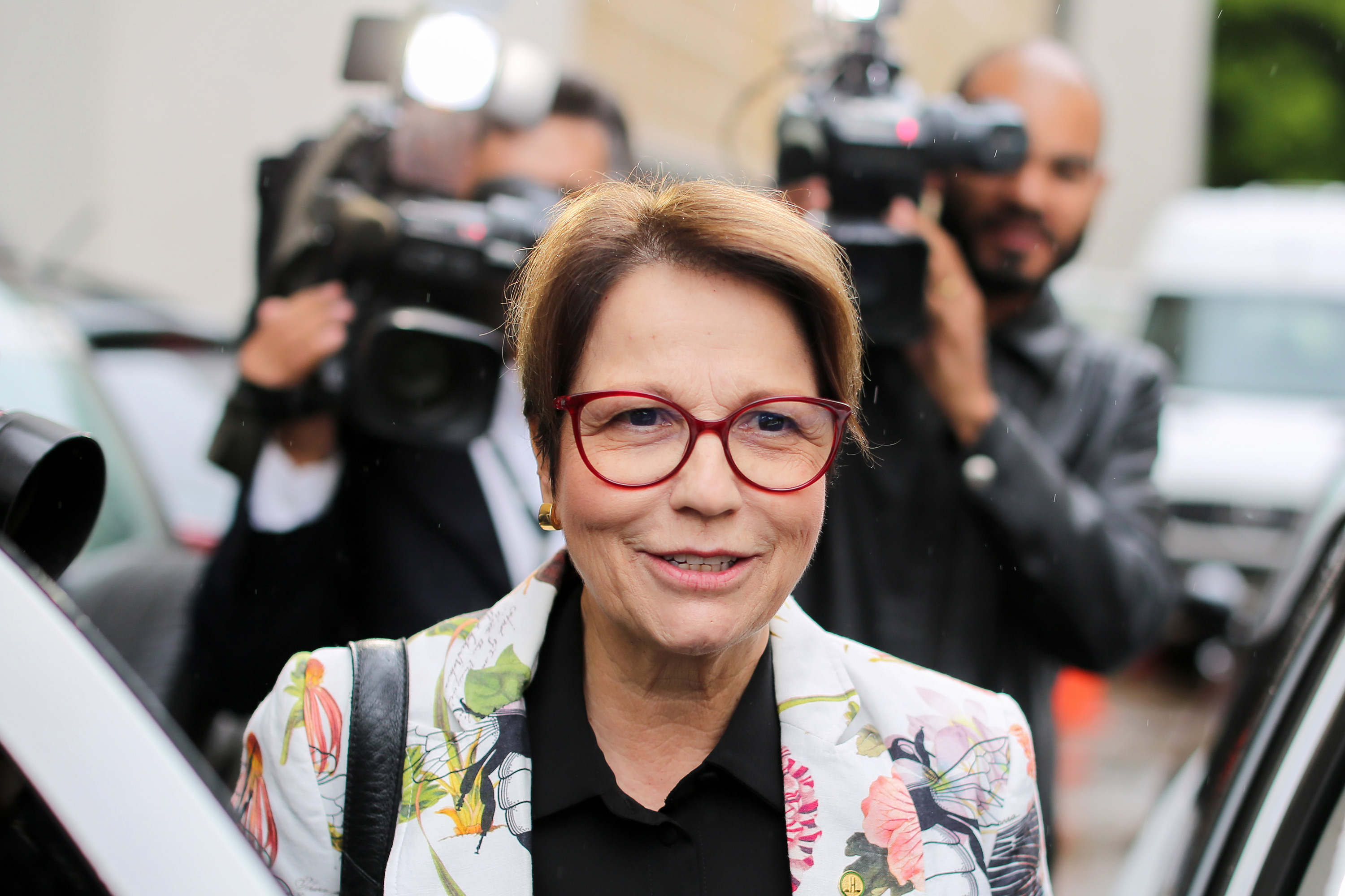 Brazilian Deputy Tereza Cristina Correa da Costa Dias, who was appointed to the Ministry of Agriculture by Brazilian president-elect Jair Bolsonao, leaves her home in Brasilia on November 8, 2018. (Photo by Sergio LIMA / AFP)        (Photo credit should read SERGIO LIMA/AFP/Getty Images)