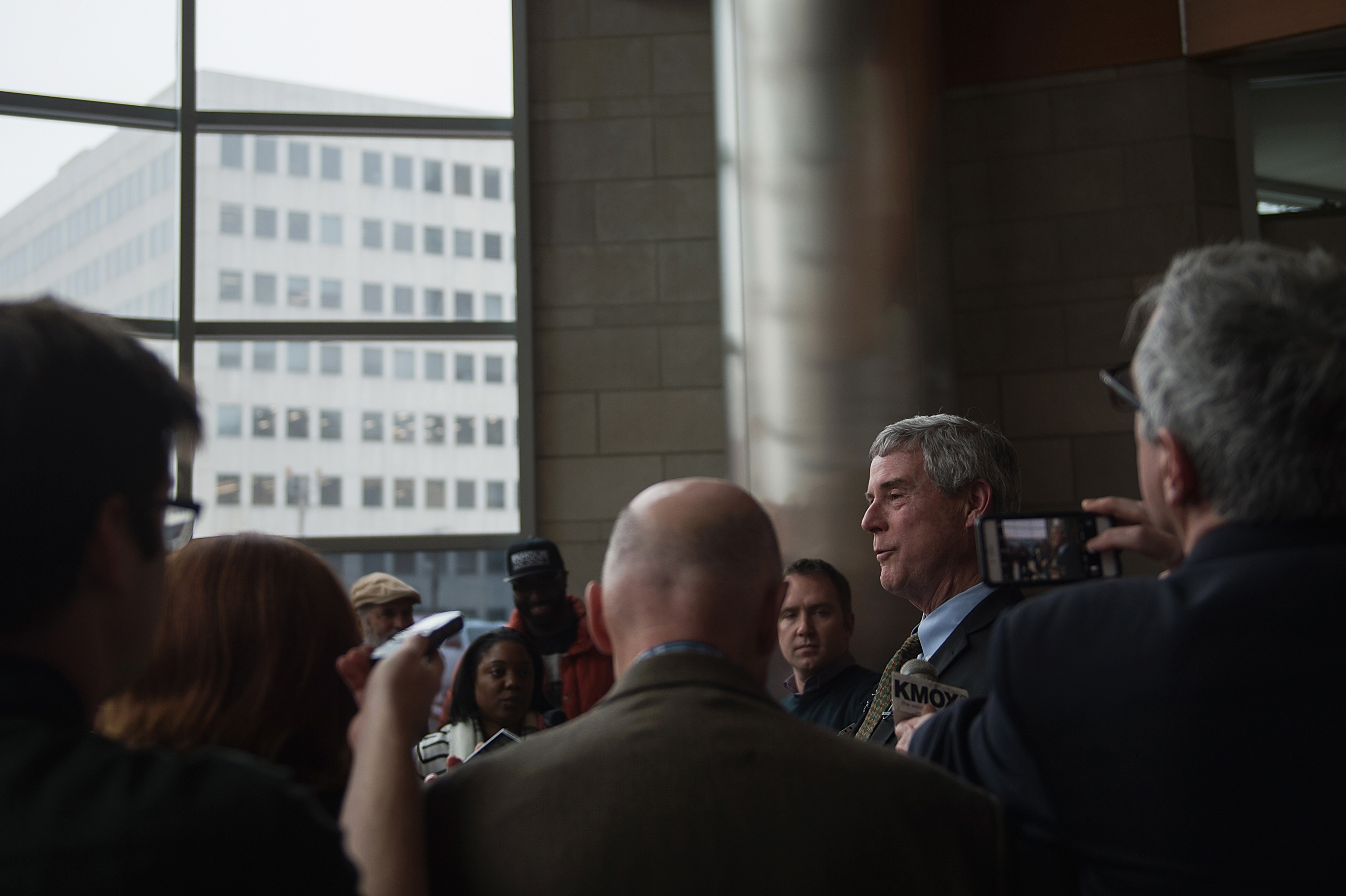 """CLAYTON, MO - MARCH 13:  Robert P. """"Bob"""" McCulloch, Prosecuting Attorney for St. Louis County speaks to the media during a news conference on March 13, 2017 in Clayton, Missouri. Tension and protest in Ferguson has arisen in response to video footage of slain 18 year-old Michael Brown in a recent documentary. (Photo by Michael B. Thomas/Getty Images)"""