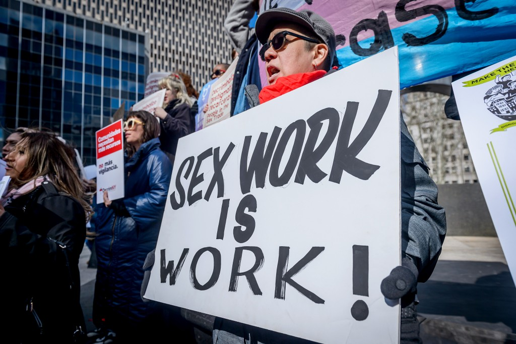 FOLEY SQUARE, NEW YORK, UNITED STATES - 2019/02/25: LGBTQ+, immigrant rights, harm reduction and criminal justice reform groups, led by people who trade sex, launched 20+ organization coalition, Decrim NY, to decriminalize and decarcerate the sex trades in New York city and state. Senate Labor Committee Chair Ramos and Womens Health Committee Chair Salazar and Assembly Health Committee Chair Gottfried announced intention to introduce comprehensive decriminalization bill this session. (Photo by Erik McGregor/Pacific Press/LightRocket via Getty Images)