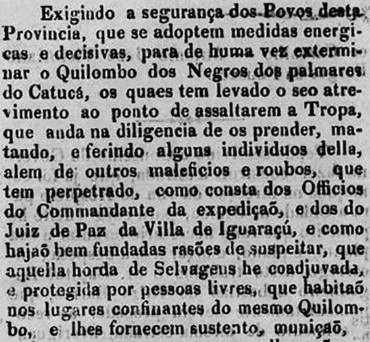 """Trecho de uma carta escrita por um desembargador reclamando do """"Quilombo dos negros dos palmares do Catucá""""."""