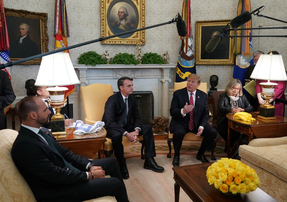 March 19, 2019 - Washington, DC, United States: United States President Donald J. Trump meets with President Jair Bolsonoro of Brazil at the White House. (Chris Kleponis / Polaris)