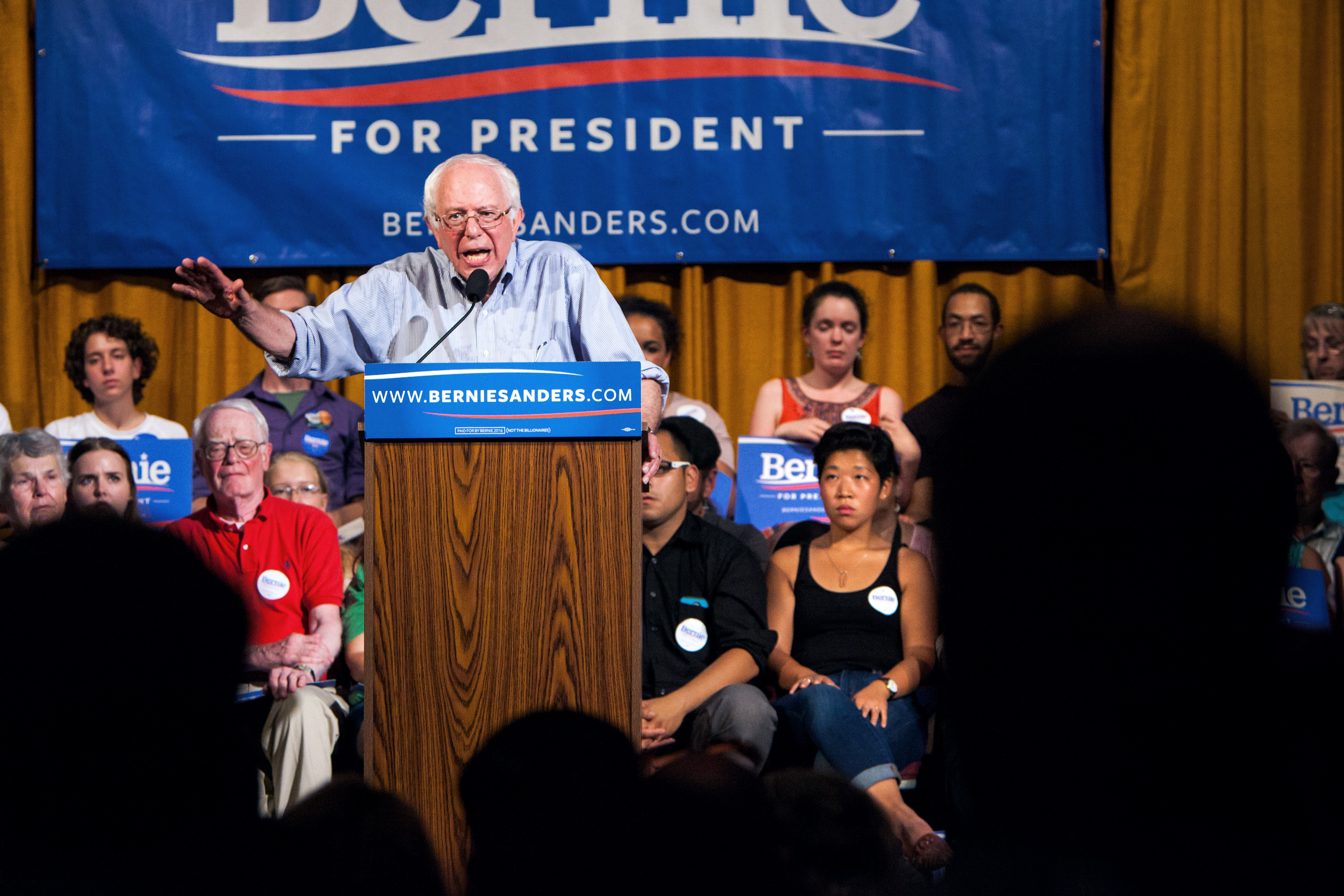 Presidential candidate Vermont Senator Bernie Sanders meets with voters at a Town Hall meeting in Littleton, NH on August 24th, 2015. (Photo by Porter Gifford/Corbis via Getty Images)