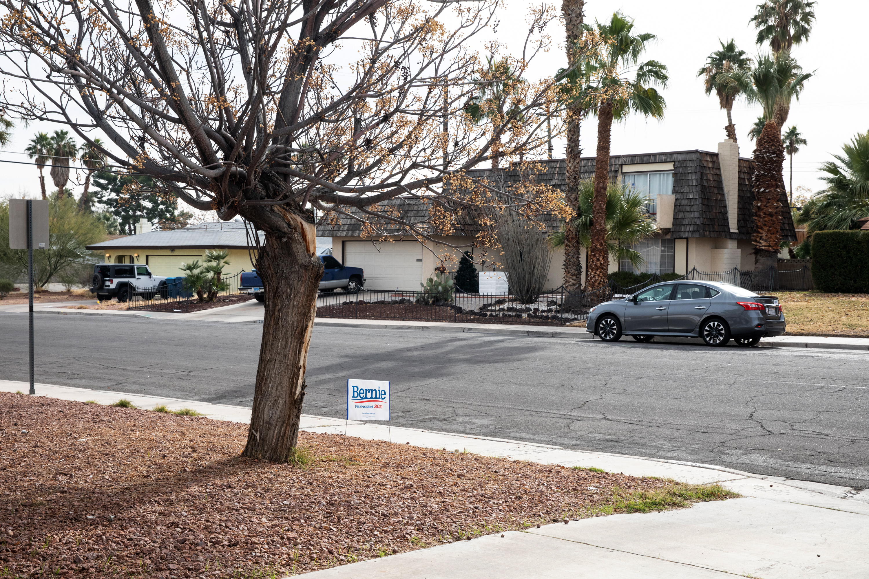 "Shaun Navarro volunteering at a community canvassing training for Bernie Sanders at the ""Leftist Garage"" in Las Vegas, NV on December 21, 2019. Krystal Ramirez for The Intercept"
