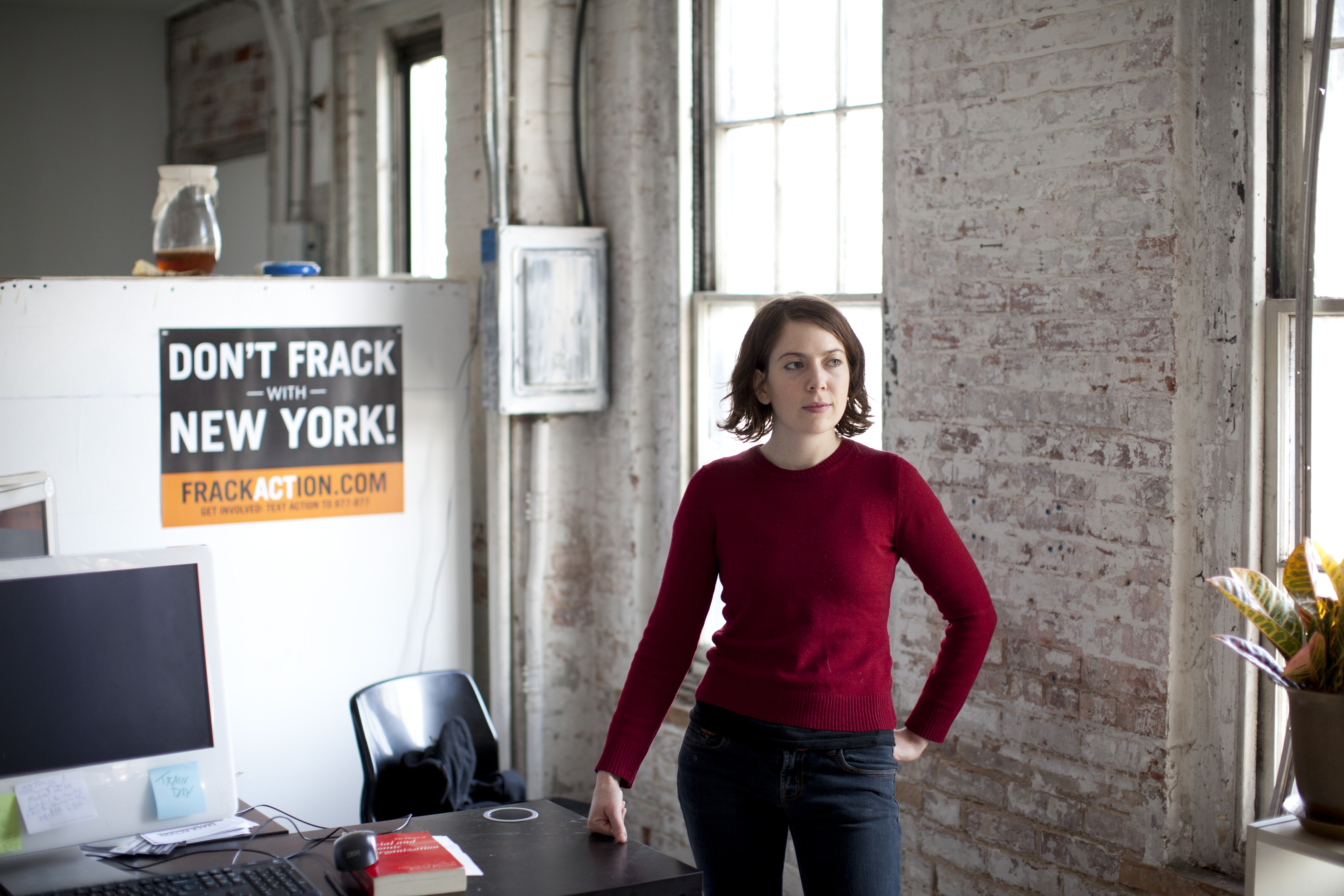 Claire Sandberg, one of the two founders of the grass-roots group Frack Action, in New York, Dec. 22, 2011. With a deadline looming this week for the public to weigh in on gas drilling in New York State, the antifracking movement itself has become divided over if its goal should be securing the nation's toughest regulations, or winning an outright ban. (Todd Heisler/The New York Times)