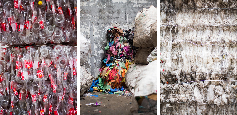 Instalações privadas de coleta de lixo para o país existem apenas na capital. Ali, materiais recicláveis, como garrafas de refrigerante de plástico, papel e sacolas plásticas finas, são separados por tipo, cor e peso, e depois compactados.