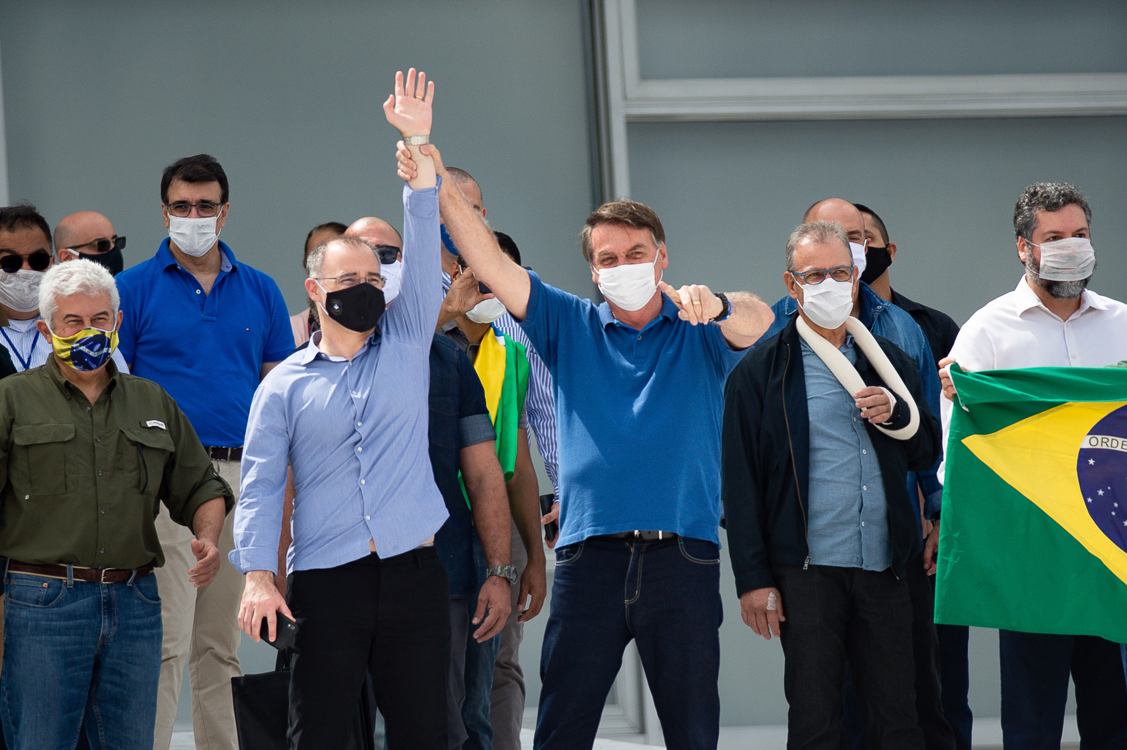 Brazilian President Jair Bolsonaro and Justice Minister André Luiz Mendonça participates in a protest against the National Congress and the Supreme Courtamidstthe coronavirus (COVID-19) pandemic at the Planalto Palace on May 17, 2020 in Brasilia.