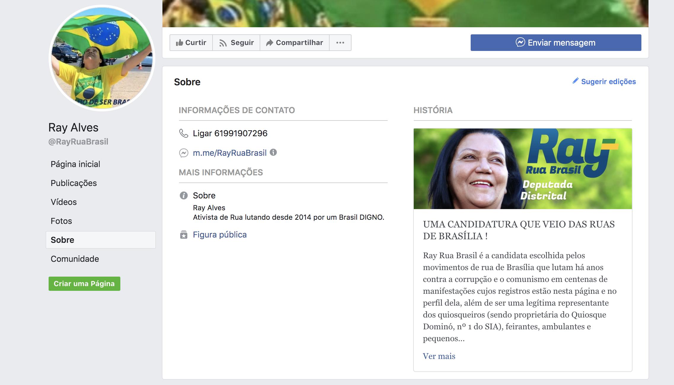 Em sua página no Facebook, Reis afirma ser dona do quiosque Dominó, em Brasília –seu único feito antes de integrar o ministério de Damares.
