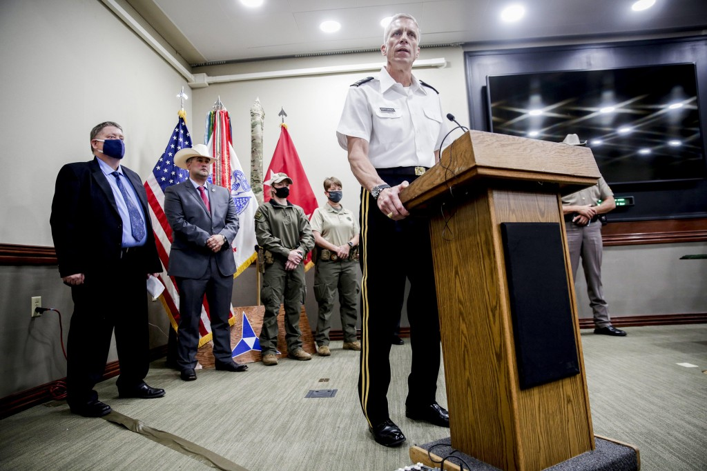 Major General Scott Efflandt, III Corps and Fort Hood Deputy Commander, at a news conference at Fort Hood in Killeen, Texas, in early July 2020.