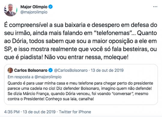 Discussão entre Major Olímpio e Carlos Bolsonaro.